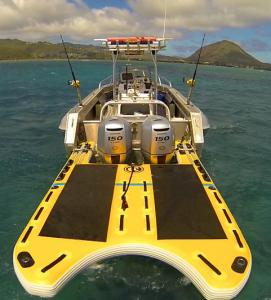 Twin outboard with inflatable boat sled