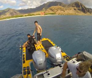 Outboard motor dive platform