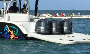 Triple outboard boat inflatable sled