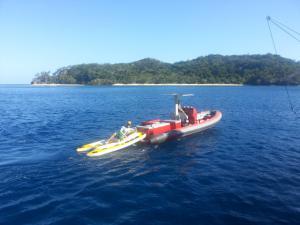 Boat sled in Tahiti